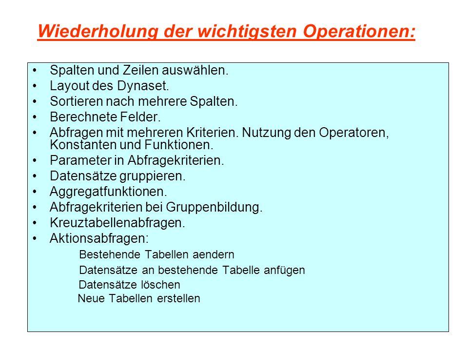 Wiederholung der wichtigsten Operationen: