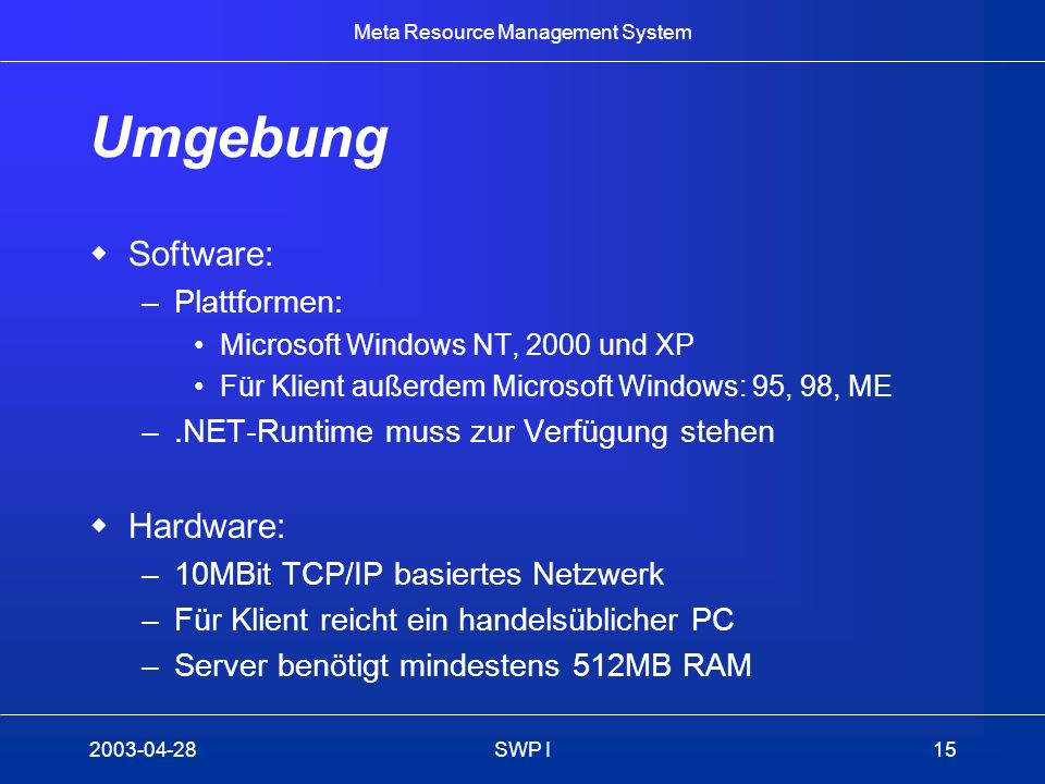 Umgebung Software: Hardware: Plattformen: