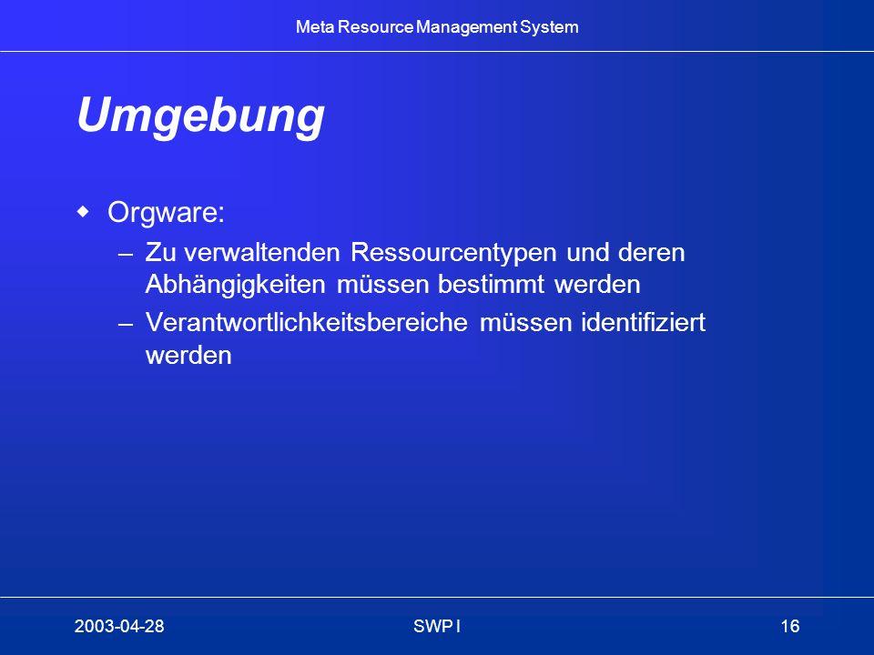 Umgebung Orgware: Zu verwaltenden Ressourcentypen und deren Abhängigkeiten müssen bestimmt werden.