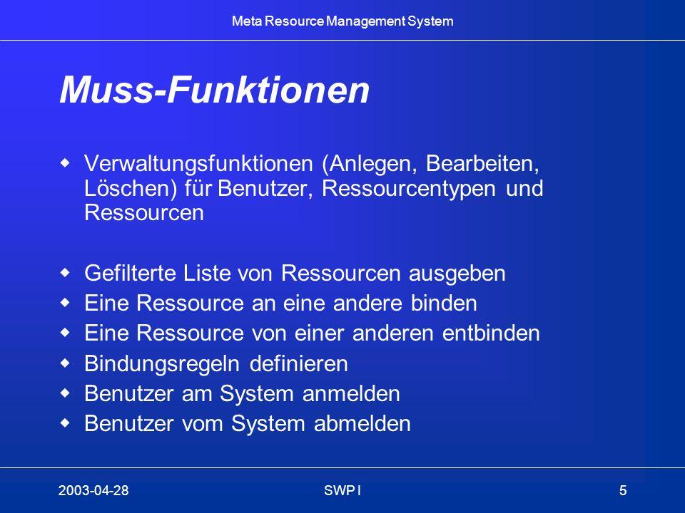 Muss-Funktionen Verwaltungsfunktionen (Anlegen, Bearbeiten, Löschen) für Benutzer, Ressourcentypen und Ressourcen.
