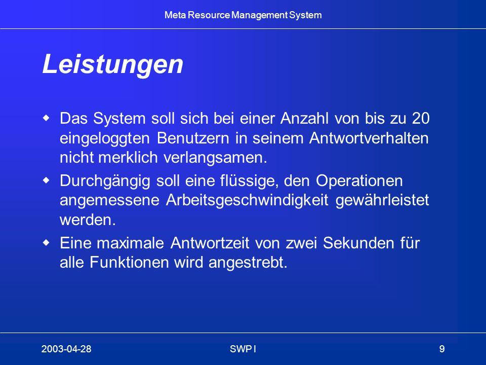 Leistungen Das System soll sich bei einer Anzahl von bis zu 20 eingeloggten Benutzern in seinem Antwortverhalten nicht merklich verlangsamen.