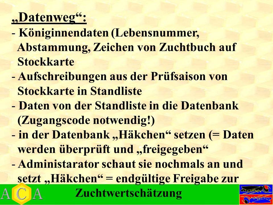"""Datenweg : Königinnendaten (Lebensnummer,"