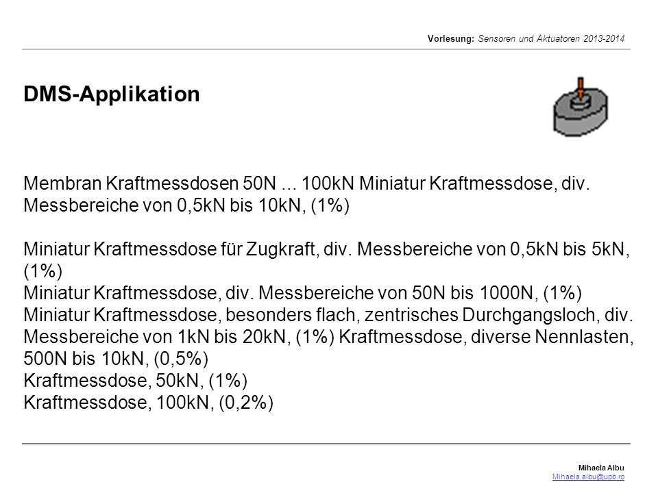 DMS-Applikation Membran Kraftmessdosen 50N