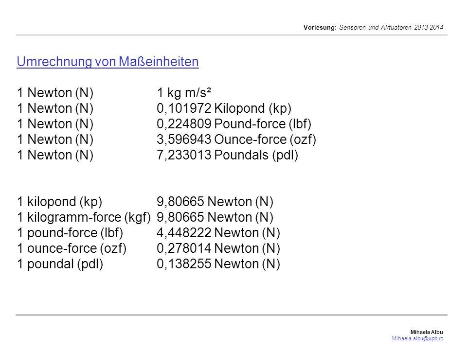 Umrechnung von Maßeinheiten. 1 Newton (N). 1 kg m/s². 1 Newton (N)