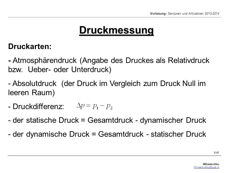 Druckmessung Druckarten: