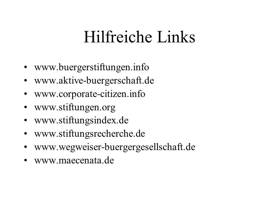 Hilfreiche Links www.buergerstiftungen.info