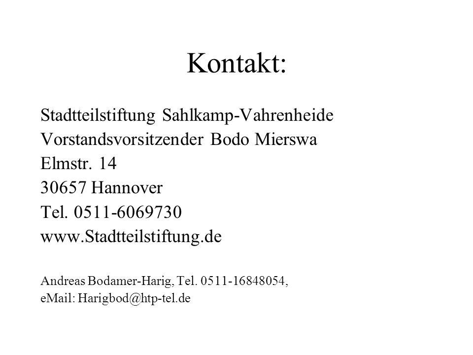Kontakt: Stadtteilstiftung Sahlkamp-Vahrenheide