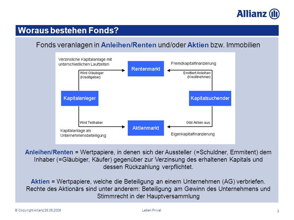 Fonds veranlagen in Anleihen/Renten und/oder Aktien bzw. Immobilien
