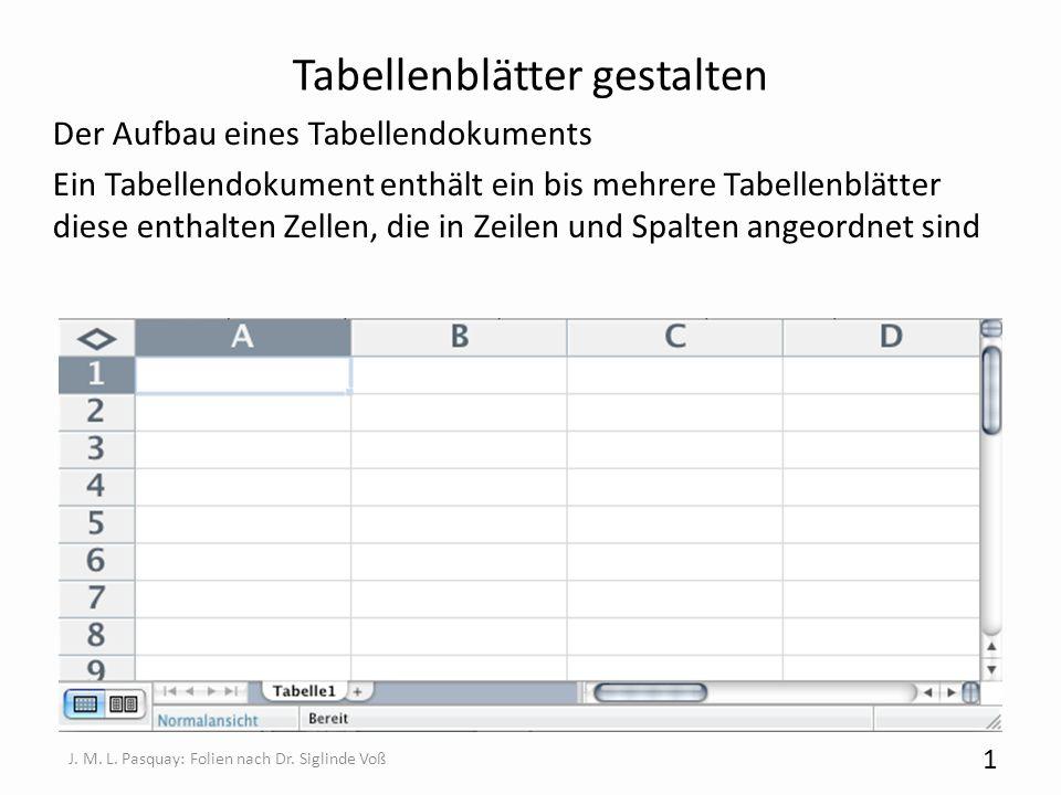Tabellenblätter gestalten