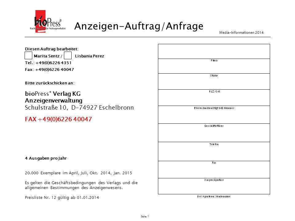 Anzeigen-Auftrag/Anfrage