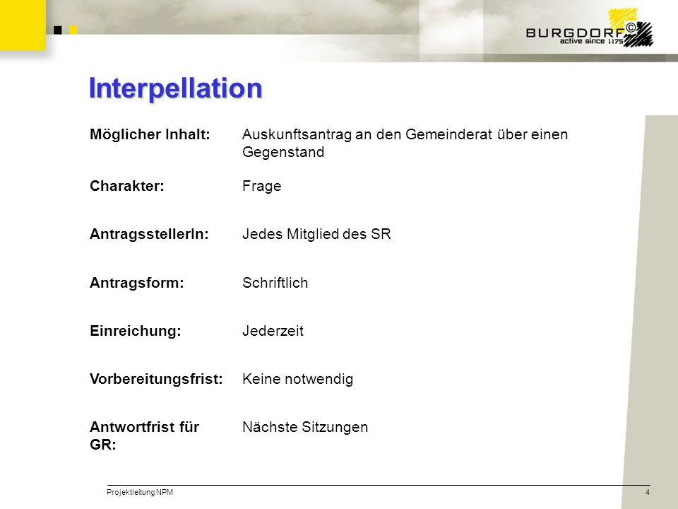 Interpellation Möglicher Inhalt: