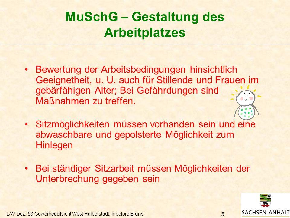 MuSchG – Gestaltung des Arbeitplatzes