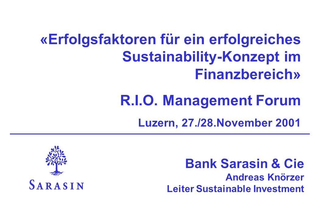 «Erfolgsfaktoren für ein erfolgreiches Sustainability-Konzept im Finanzbereich»