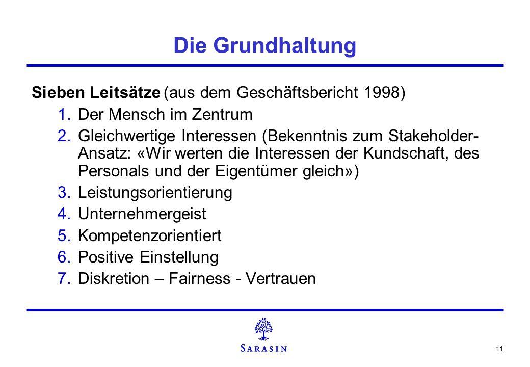 Die Grundhaltung Sieben Leitsätze (aus dem Geschäftsbericht 1998)
