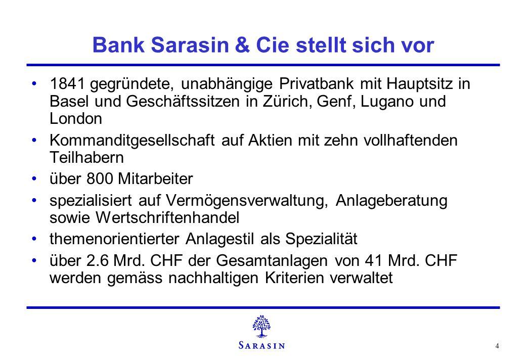 Bank Sarasin & Cie stellt sich vor