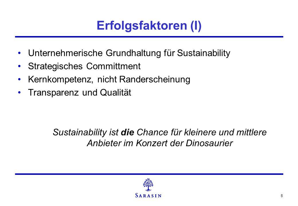Erfolgsfaktoren (I) Unternehmerische Grundhaltung für Sustainability