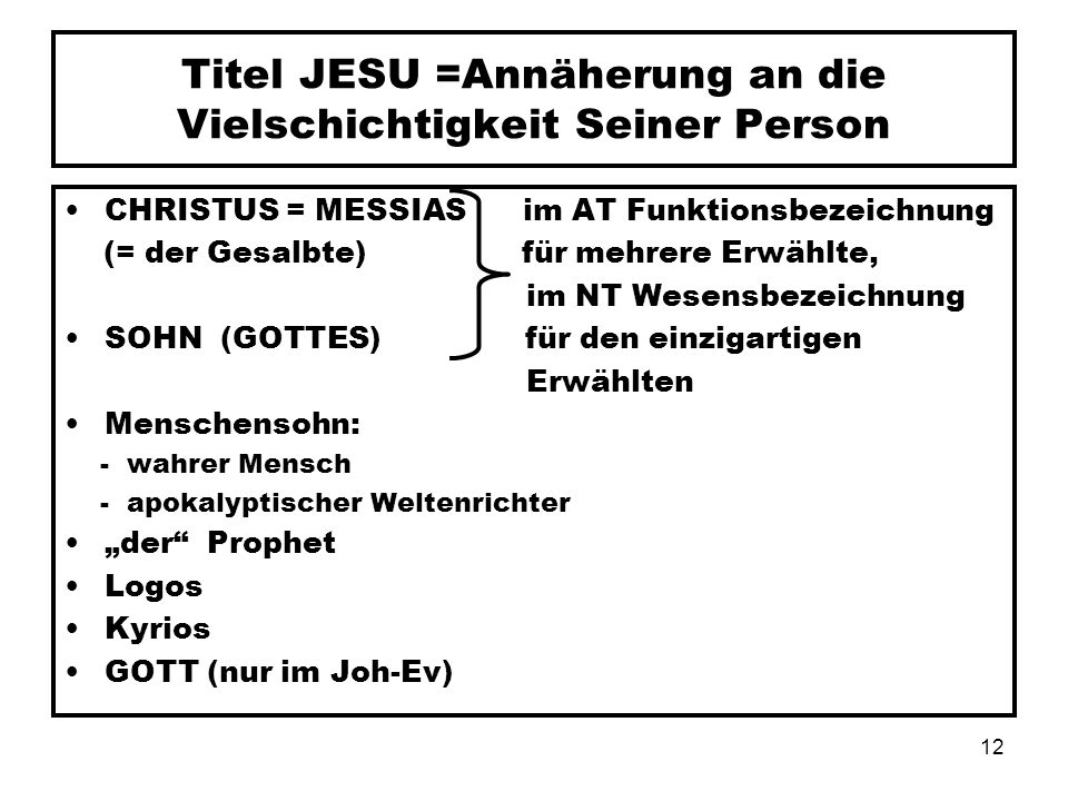 Titel JESU =Annäherung an die Vielschichtigkeit Seiner Person