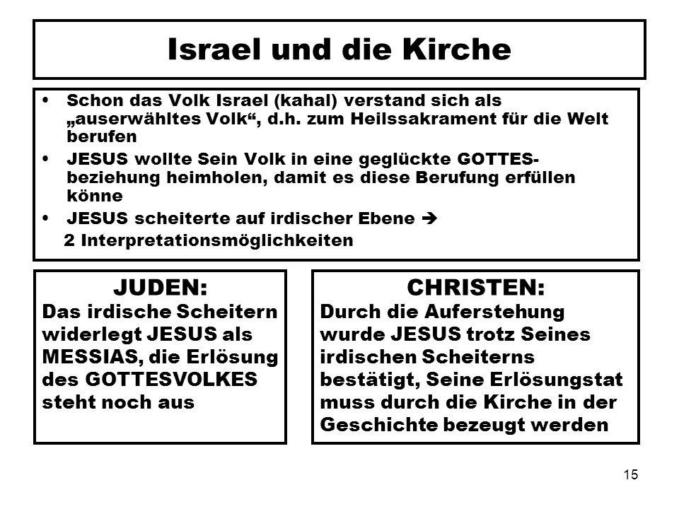 Israel und die Kirche JUDEN: CHRISTEN: Das irdische Scheitern