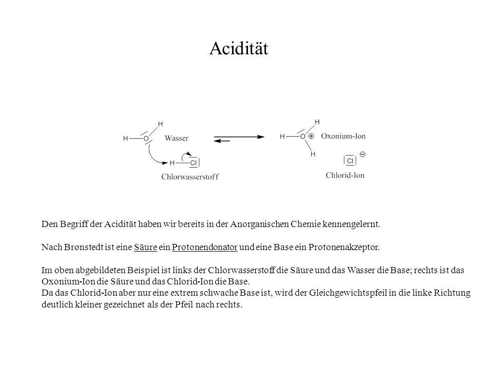 Acidität Den Begriff der Acidität haben wir bereits in der Anorganischen Chemie kennengelernt.