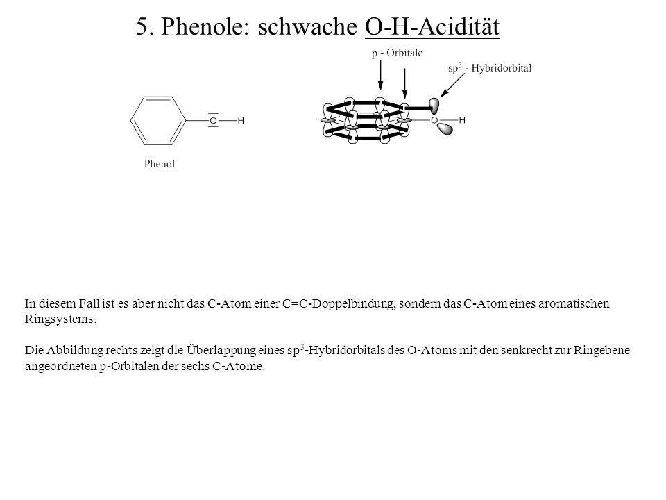 5. Phenole: schwache O-H-Acidität