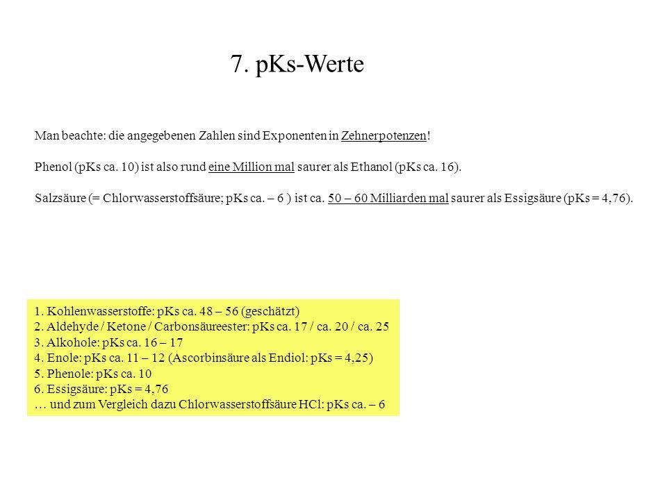 7. pKs-Werte Man beachte: die angegebenen Zahlen sind Exponenten in Zehnerpotenzen!