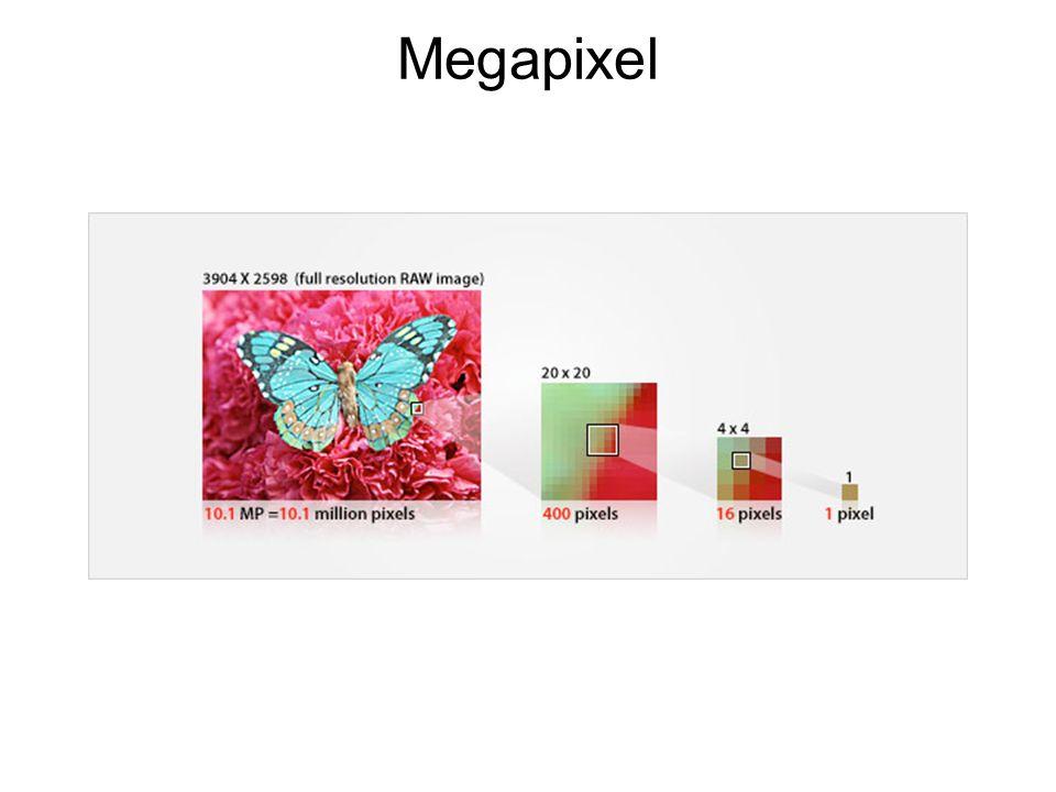 Megapixel Megapixel = Millionen Bildpunkte, die der Sensor aufnimmt – vorausgesetzt man hat die höchste Auflösung in der Kamera eingestellt.