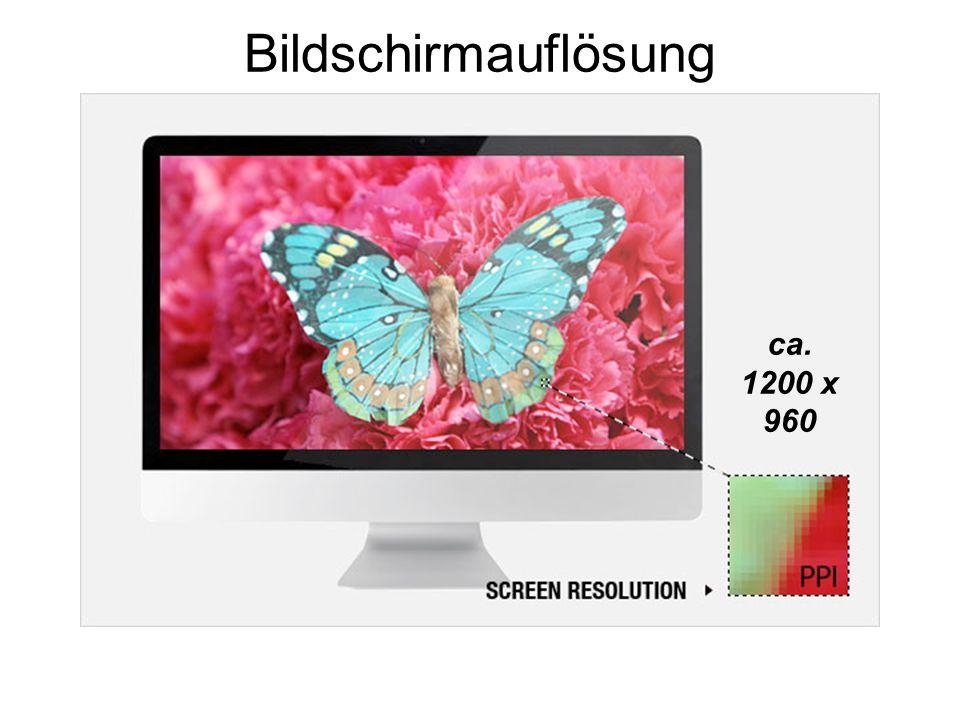 Bildschirmauflösung ca. 1200 x 960
