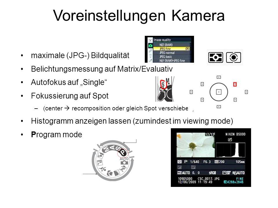 Voreinstellungen Kamera