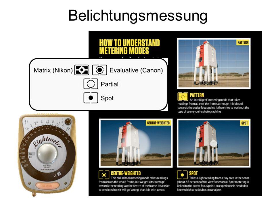 Belichtungsmessung Auslöser halb drücken  Ihre Kamera versucht herauszufinden, wie viel Licht zur Verfügung steht.