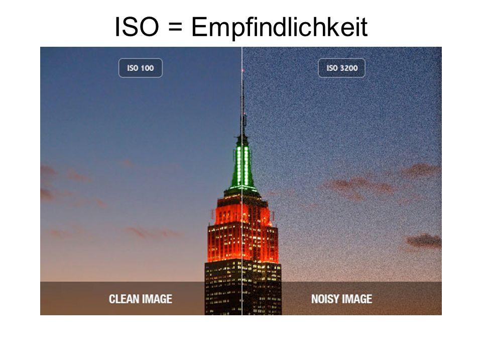 ISO = Empfindlichkeit niedriger ISO: braucht viel Licht, liefert aber die beste Bildqualität.