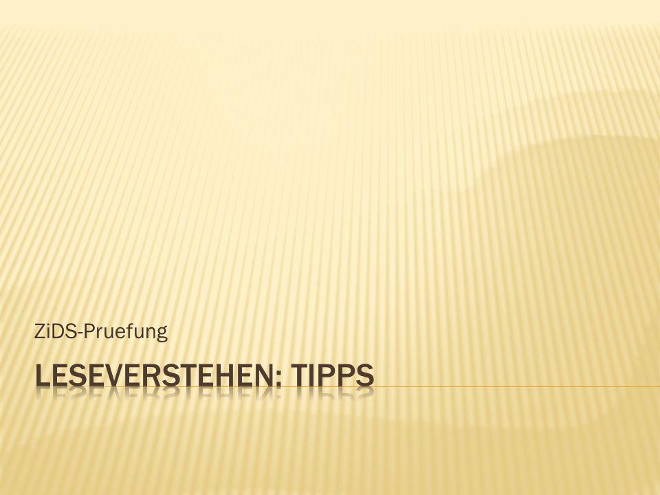 ZiDS-Pruefung Leseverstehen: Tipps