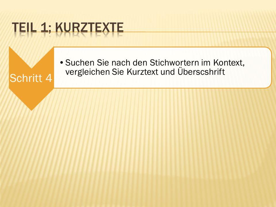 Teil 1; Kurztexte Schritt 4.