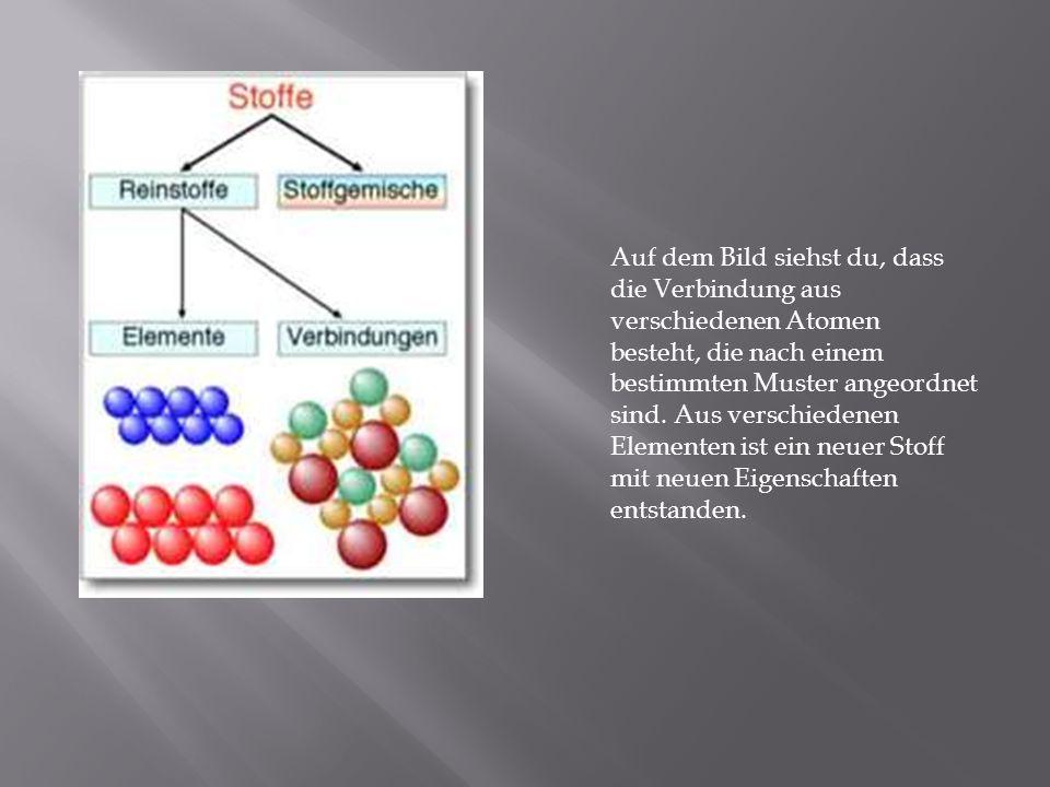 Auf dem Bild siehst du, dass die Verbindung aus verschiedenen Atomen besteht, die nach einem bestimmten Muster angeordnet sind.