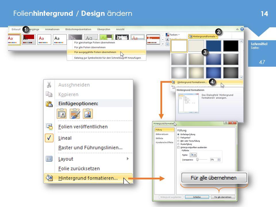 Folienhintergrund / Design ändern