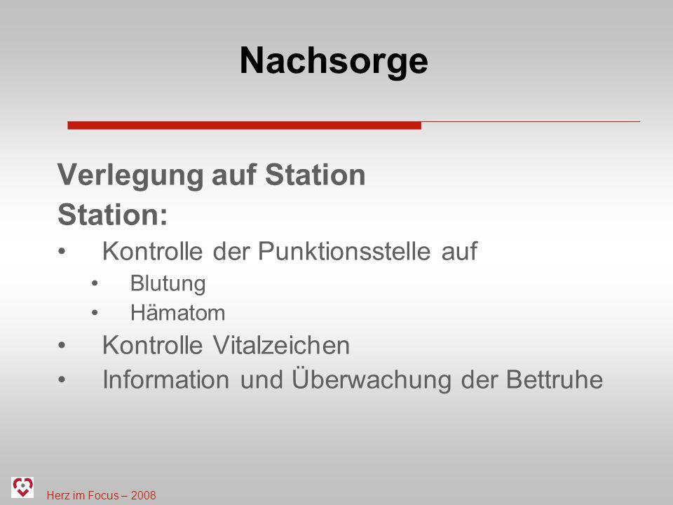 Nachsorge Verlegung auf Station Station: