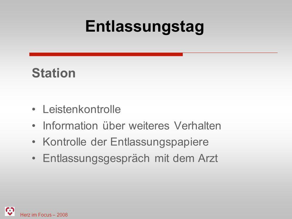 Entlassungstag Station Leistenkontrolle