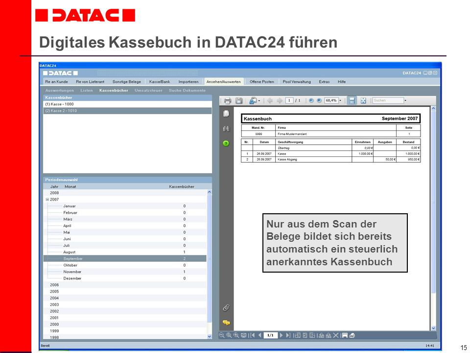 Digitales Kassebuch in DATAC24 führen