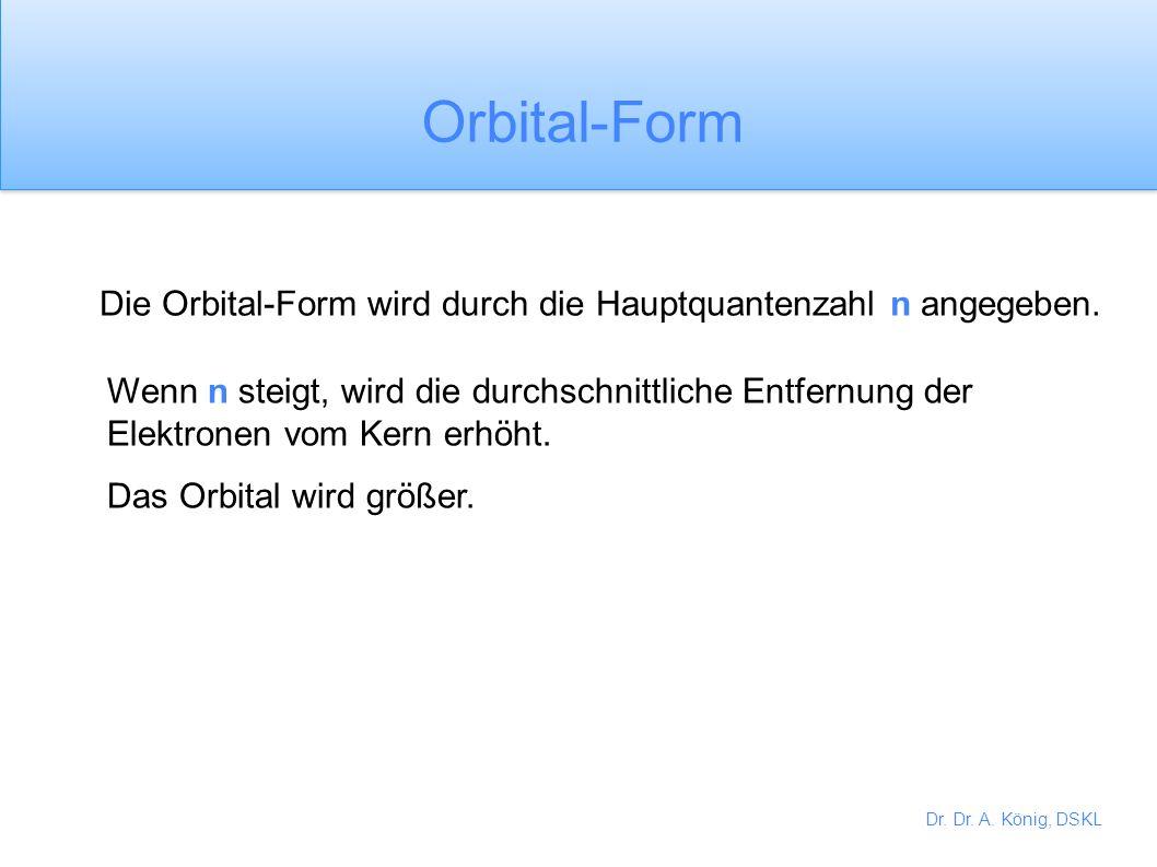Orbital-Form Die Orbital-Form wird durch die Hauptquantenzahl n angegeben.
