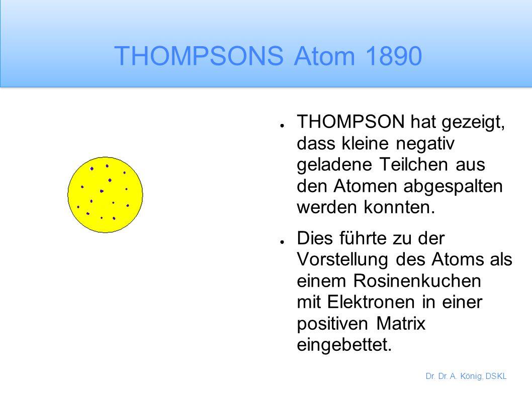 THOMPSONS Atom 1890 THOMPSON hat gezeigt, dass kleine negativ geladene Teilchen aus den Atomen abgespalten werden konnten.