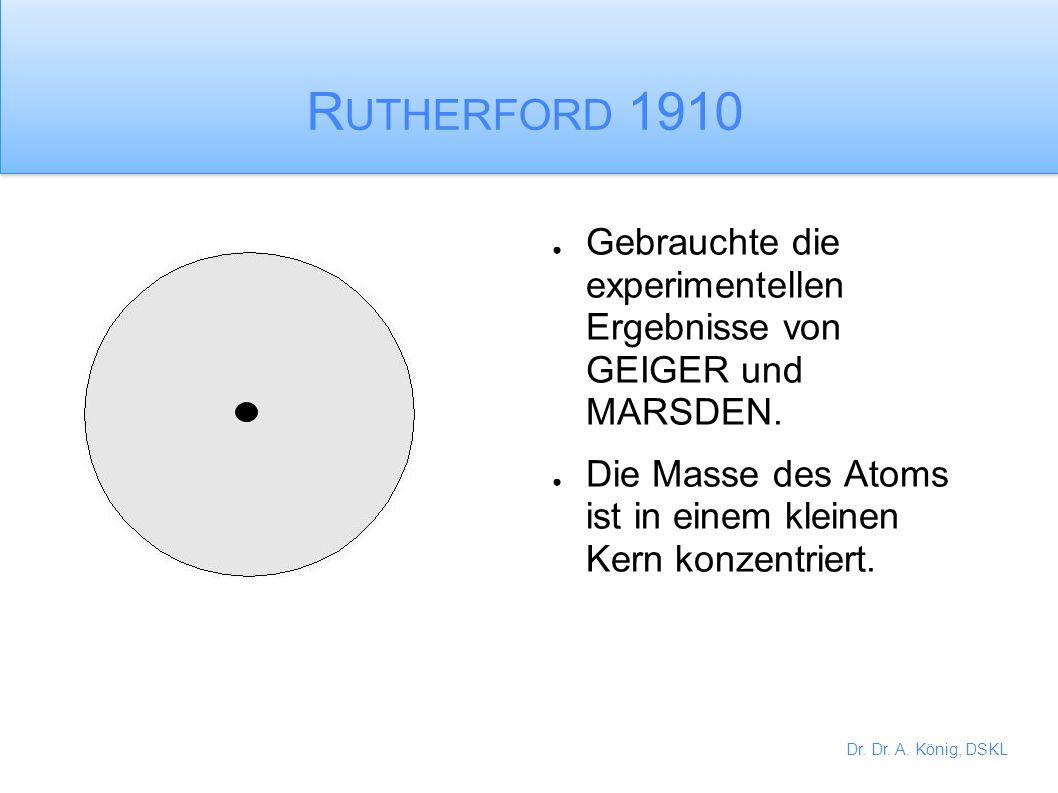 Rutherford 1910 Gebrauchte die experimentellen Ergebnisse von GEIGER und MARSDEN.