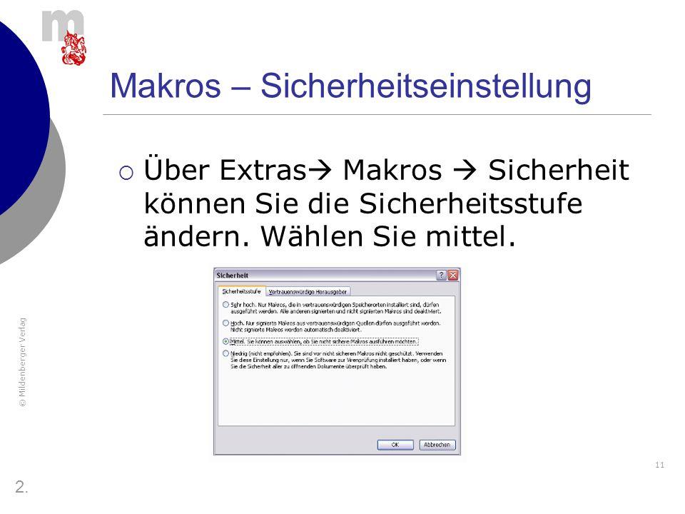 Makros – Sicherheitseinstellung