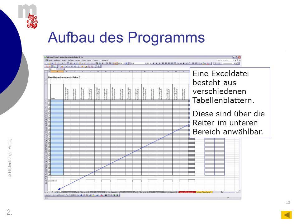 Aufbau des Programms Eine Exceldatei besteht aus verschiedenen Tabellenblättern. Diese sind über die Reiter im unteren Bereich anwählbar.