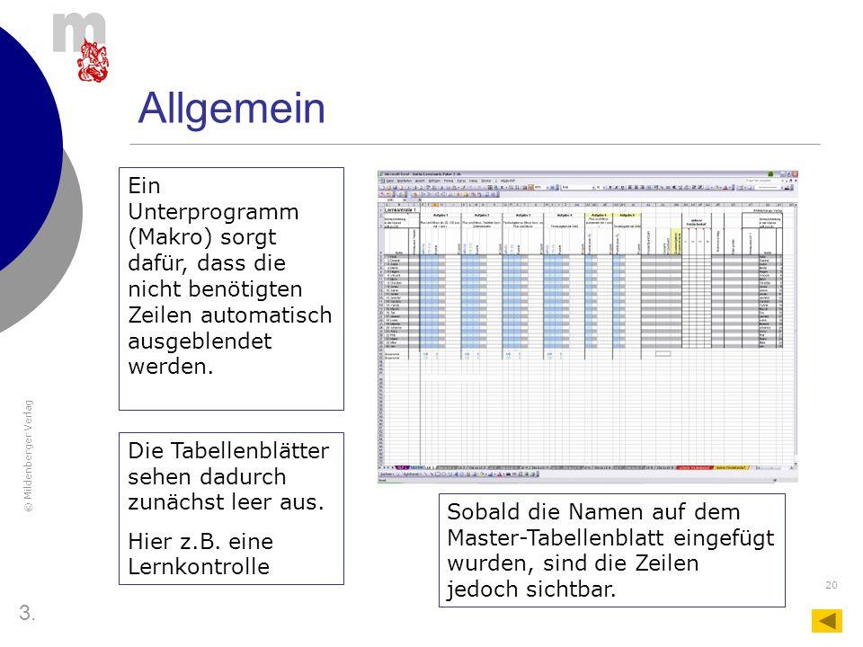 Allgemein Ein Unterprogramm (Makro) sorgt dafür, dass die nicht benötigten Zeilen automatisch ausgeblendet werden.