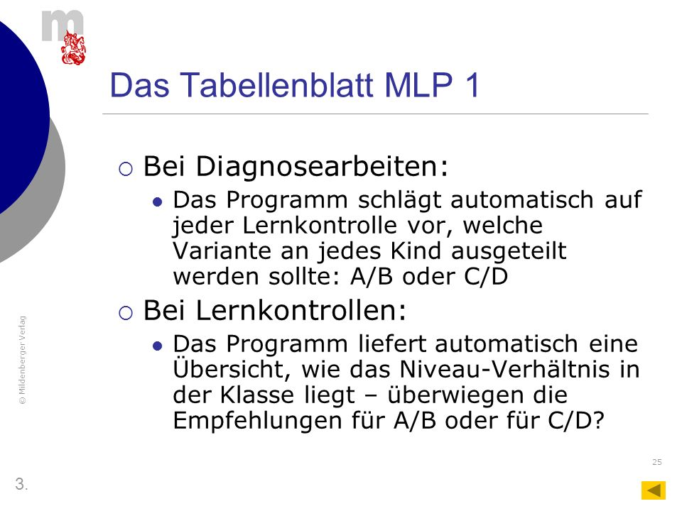 Das Tabellenblatt MLP 1 Bei Diagnosearbeiten: Bei Lernkontrollen: