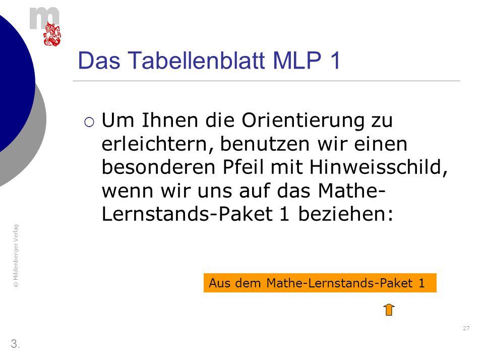 Das Tabellenblatt MLP 1