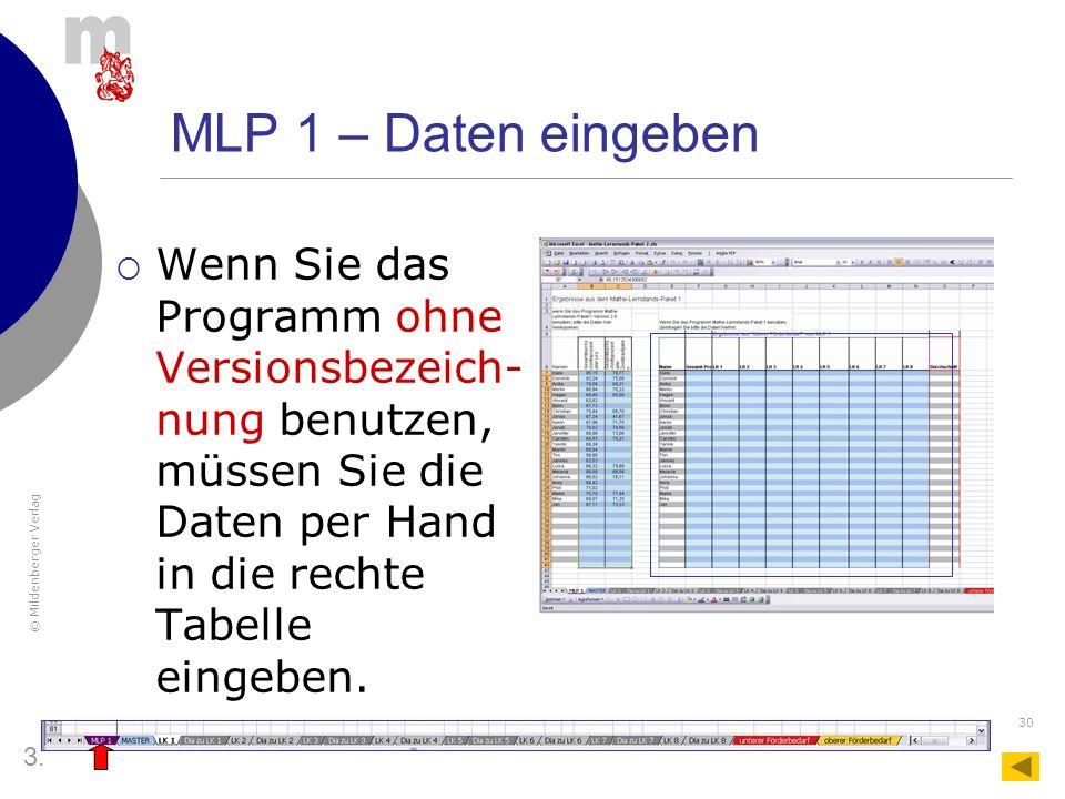MLP 1 – Daten eingeben Wenn Sie das Programm ohne Versionsbezeich-nung benutzen, müssen Sie die Daten per Hand in die rechte Tabelle eingeben.