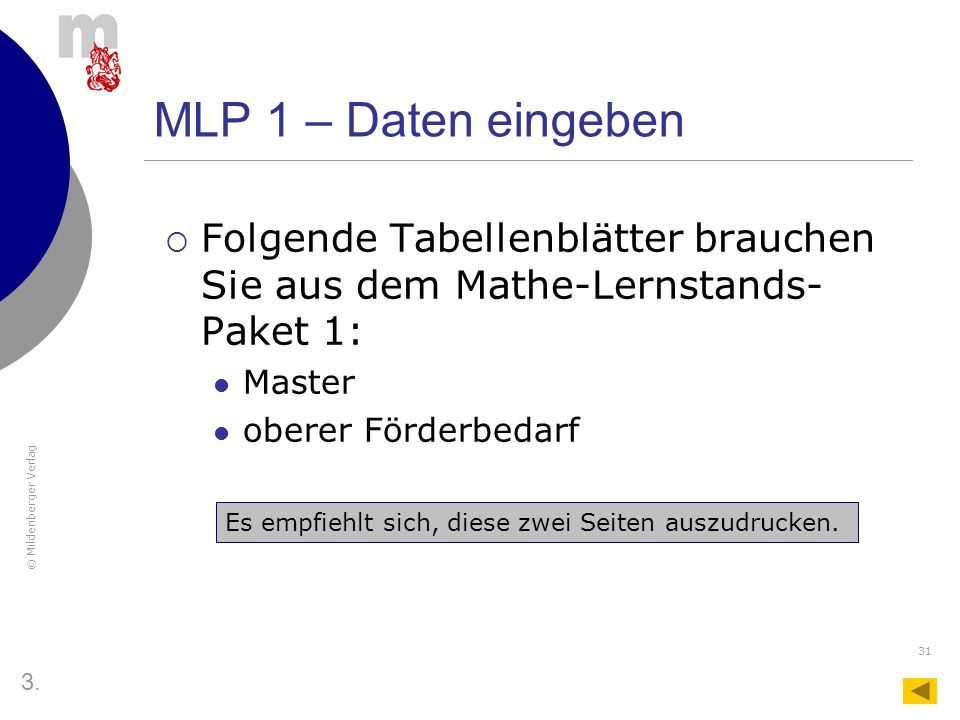 MLP 1 – Daten eingeben Folgende Tabellenblätter brauchen Sie aus dem Mathe-Lernstands-Paket 1: Master.
