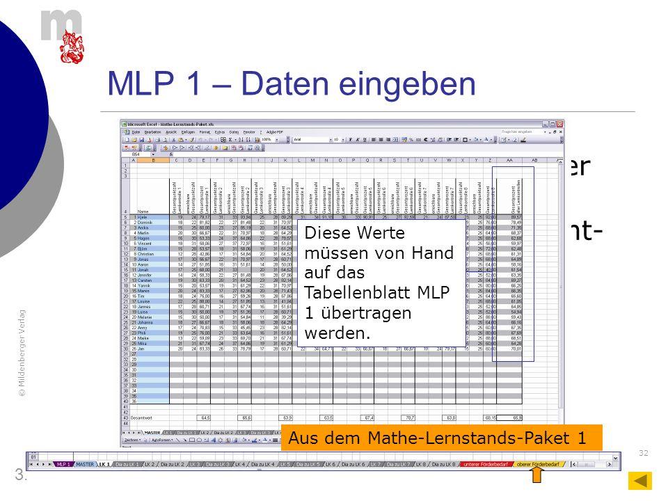 MLP 1 – Daten eingeben Aus der Spalte AA auf der Master des Mathe-Lernstands-Pakets 1 braucht man Angabe des Gesamt-Prozent-Werts.