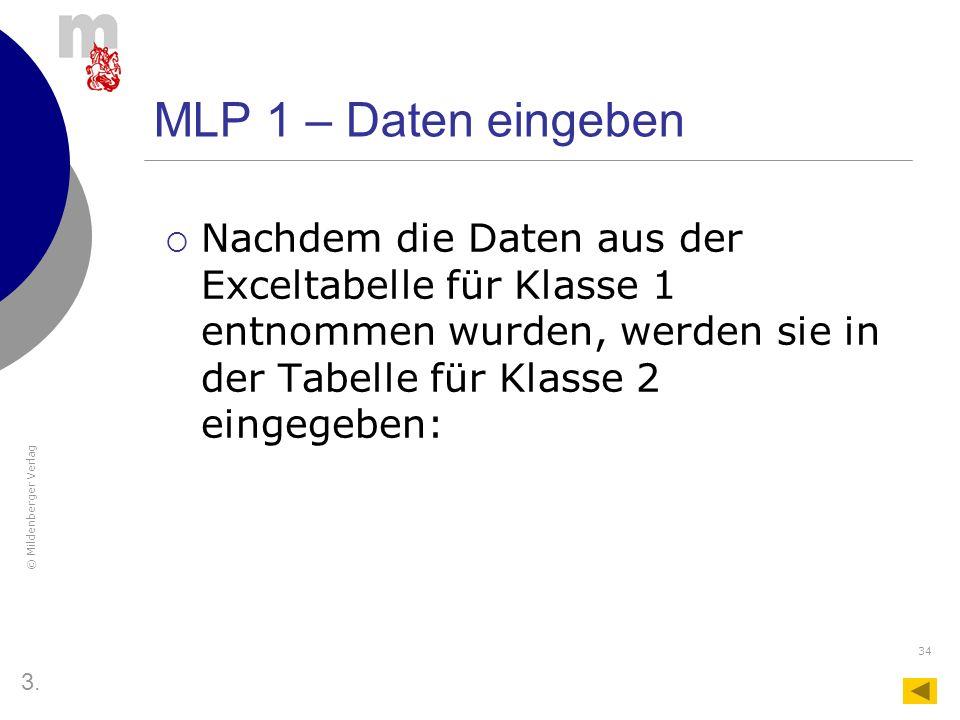 MLP 1 – Daten eingeben Nachdem die Daten aus der Exceltabelle für Klasse 1 entnommen wurden, werden sie in der Tabelle für Klasse 2 eingegeben: