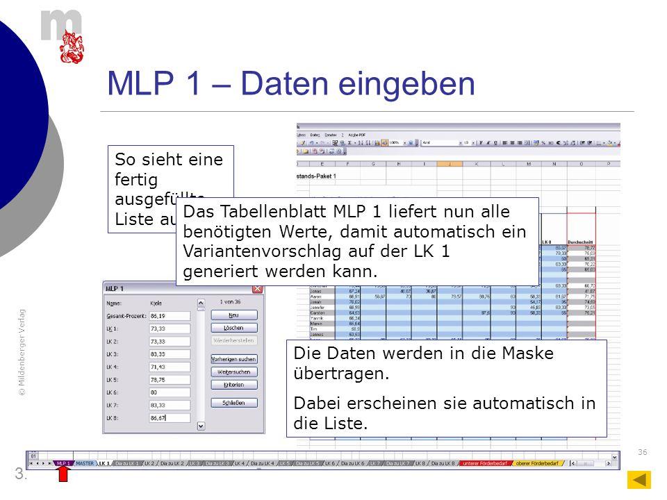 MLP 1 – Daten eingeben So sieht eine fertig ausgefüllte Liste aus.